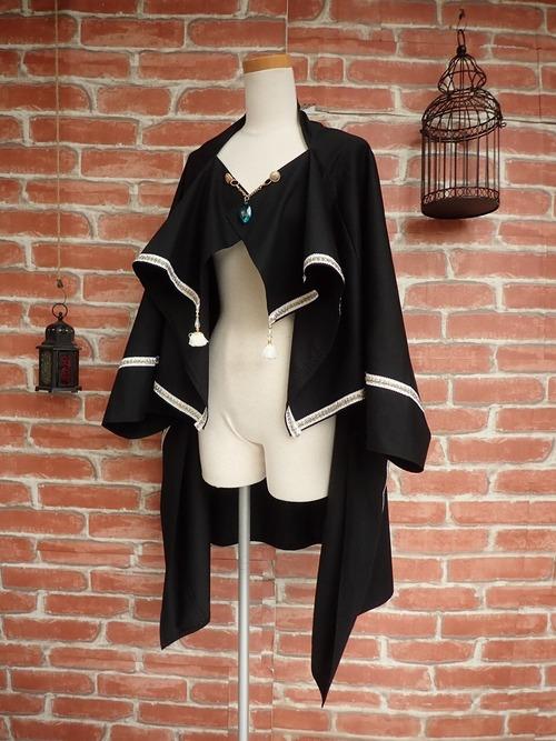 LARP ファンタジー 厳粛なる儀式のローブマント ブラック2