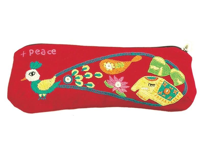 【第3世界ショップ】ミラー刺繍 ペンケース(赤・白)