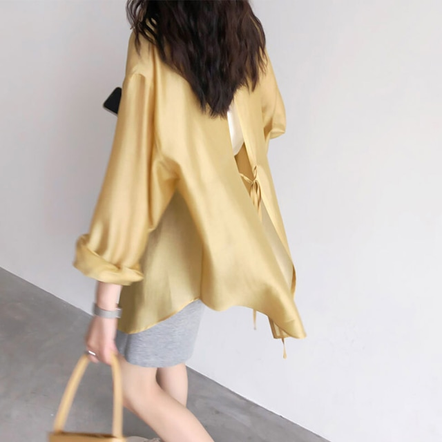 バックリボンシアーシャツ | シースルー デザインシャツ レイヤード
