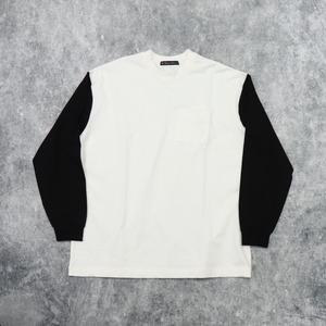 【Audience】CONTRAST SLEEVES T-SHIRT(WHT/BLK)  ロンT ビッグT オーバーサイズTシャツ 日本製 MADE IN JAPAN