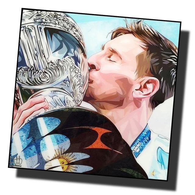 リオネル・メッシ アルゼンチン代表 「コパ・アメリカ優勝!」 サッカーアートパネル 木製 壁掛け ポスター グラフィックアート ポップアート