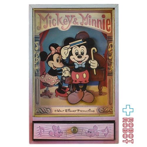 ミッキーマウス&ミニーマウス 木製引出付 オルゴール