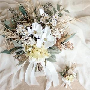Yellow Hydrangea Bouquet&Boutonniere