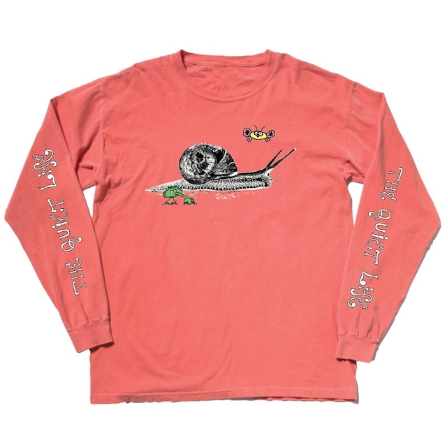 THE QUIET LIFE SNAIL LONG SLEEVE PIGMENT DYED T SALMON