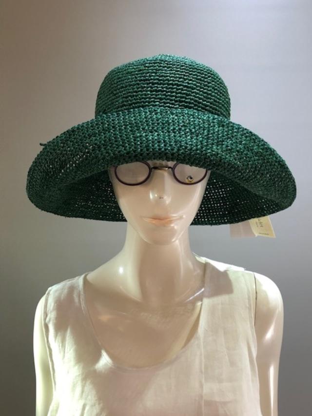 Sans Arcidet (サンアルシデ)FANNY HAT Col.BRITISH (Green) ラフィア定番人気の帽子 マダガスカル製