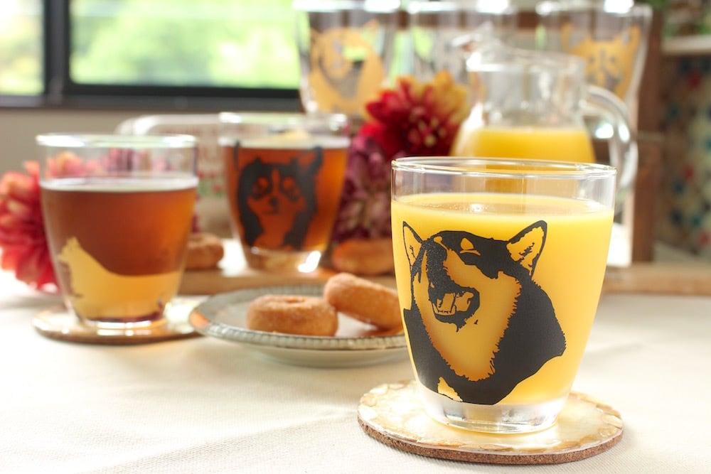 キリッと可愛い柴犬柄グラス スマイルver