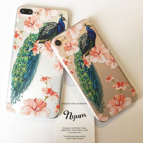 【iphone7/7plus】クジャクとお花のiphoneケース フラワー