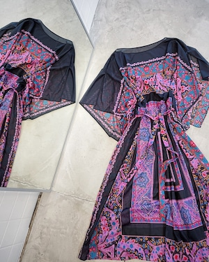 vintage paisley pattern sheer dress