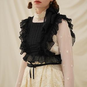 〔Designer+ 〕black frill blouse