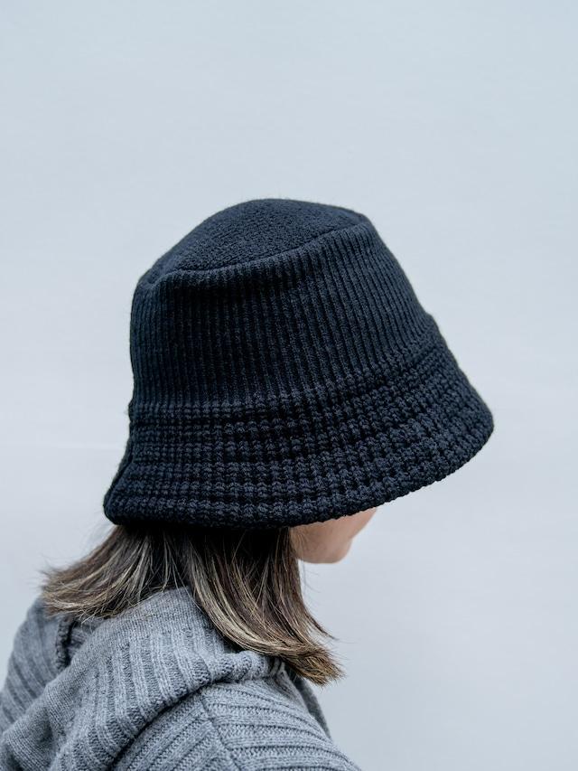 【UNISEX - 1 size】KNIT BUCKET HAT / Black