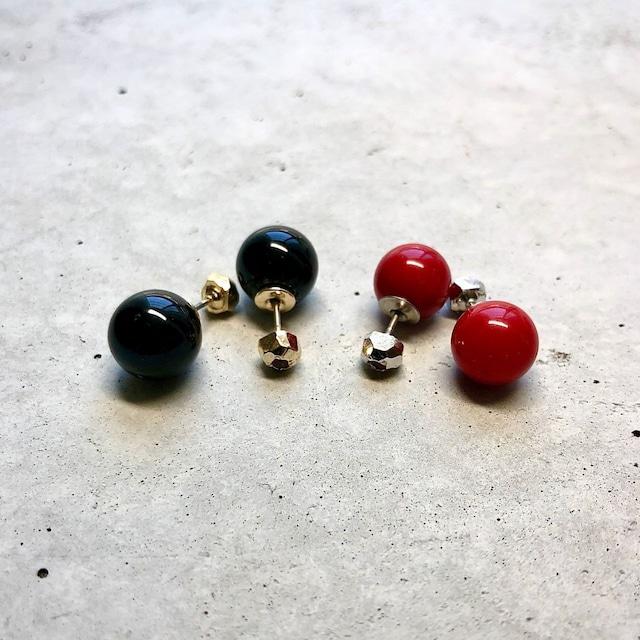 【LP-7SV】Reversible pierced  onyx × SV frame garnet  dyed coral × SV frame garnet