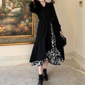 お嬢様スタイル重ね着風の♡リボンデザインワンピース