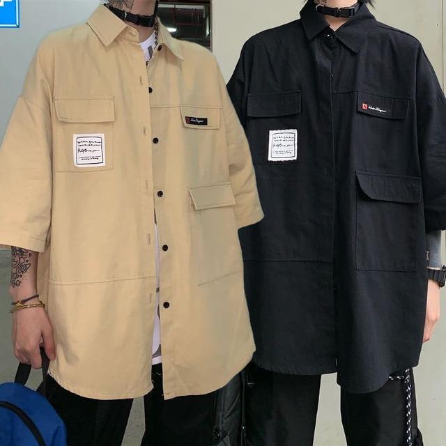ユニセックス シャツ 半袖 メンズ レディース ポケット ワークシャツ オーバーサイズ 大きいサイズ ルーズ ストリート TBN-602237531148