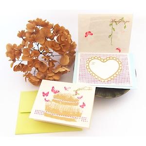 メッセージカード 蝶のcake