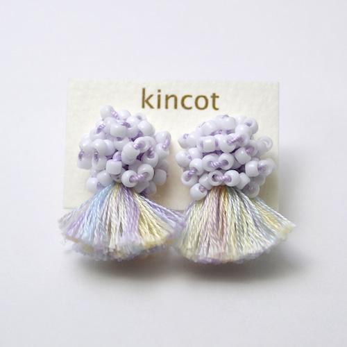 kincot ビーズフリンジイヤリング(ライトパープル)