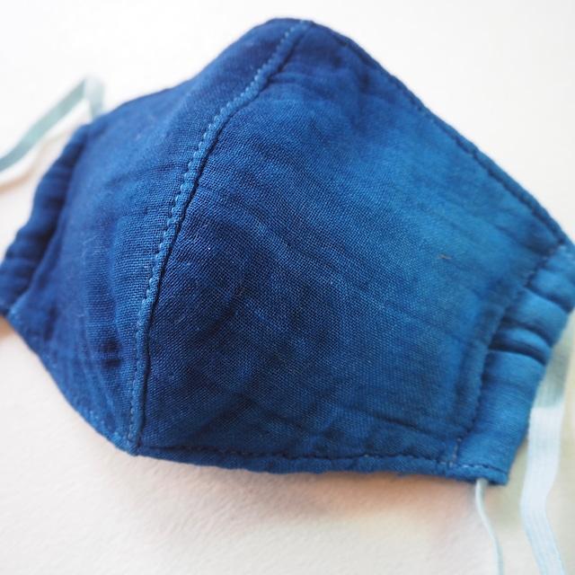 藍染めガーゼ 6 層仕立て 快適サラサラマスク(横グラデーション)