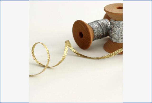 "Metallic braided ribbon 1/8"" 5 yards【Studio Carta】/メタリックリボン スタジオカルタ"
