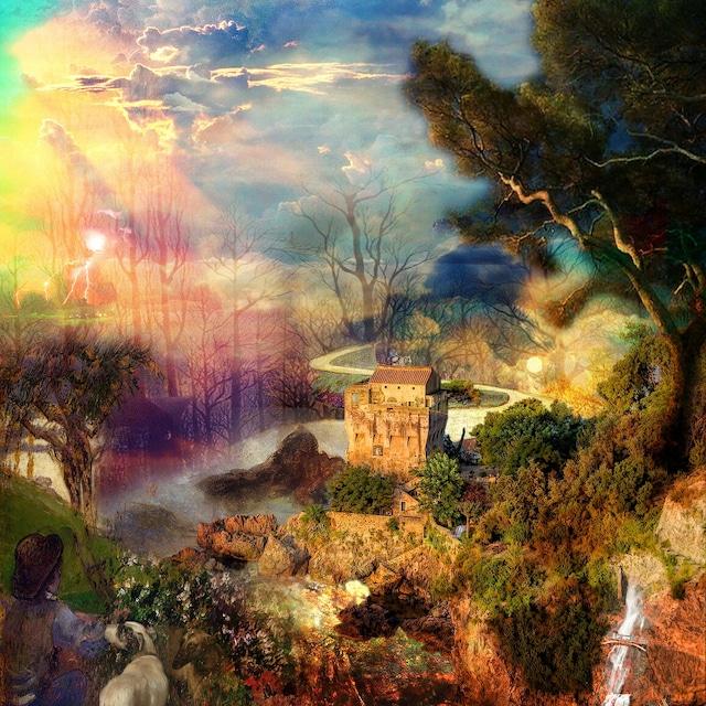 絵画 絵 ピクチャー 縁起画 モダン シェアハウス アートパネル アート art 14cm×14cm 一人暮らし 送料無料 インテリア 雑貨 壁掛け 置物 おしゃれ 水彩画 自然 風景  画家 : MIYUKI K 作品 : Forest