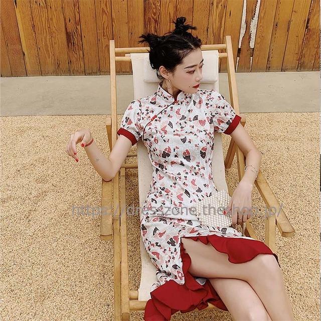 チャイナ風ドレス ロング丈 気質良い パーティー 大きいサイズ レトロ スタンドネック 半袖 プリント フィッシュテール スリットS M L LL 3L