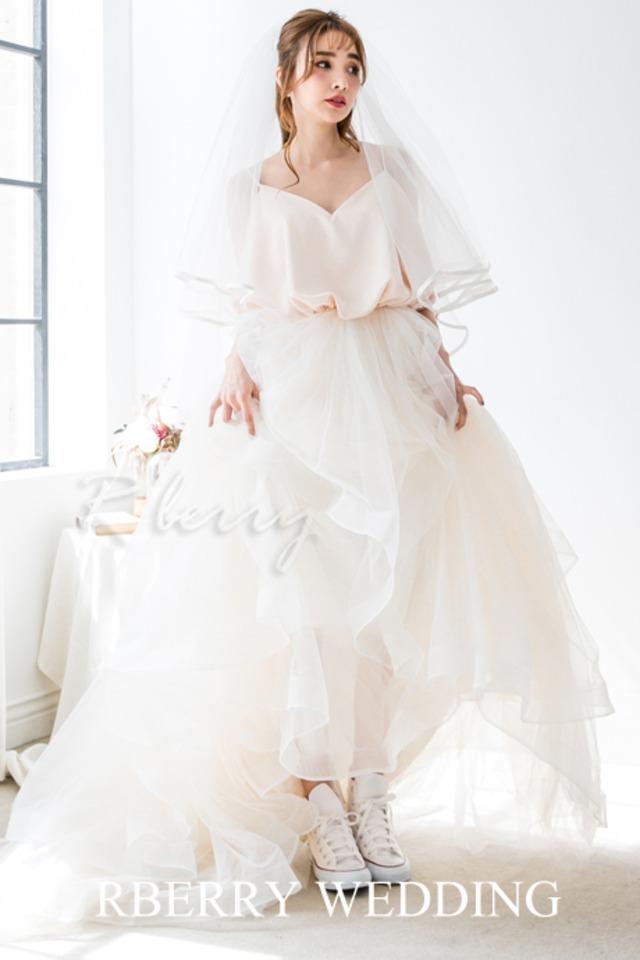 バルーンドレス ウェディングドレス Aライン   挙式 2次会 披露宴 カラードレス 結婚式 品番18799944 (アールベリー オリジナルドレス)