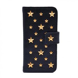 ENLA BY ENCHANTED.LA NOTEBOOKTYPE LEATHER STARS CASE / 14K Gold Filled Custom