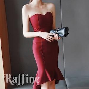 t0022009 ドレス パーティードレス ベアトップ マーメイド フリル 2色 お呼ばれ ワンピース 結婚式 二次会