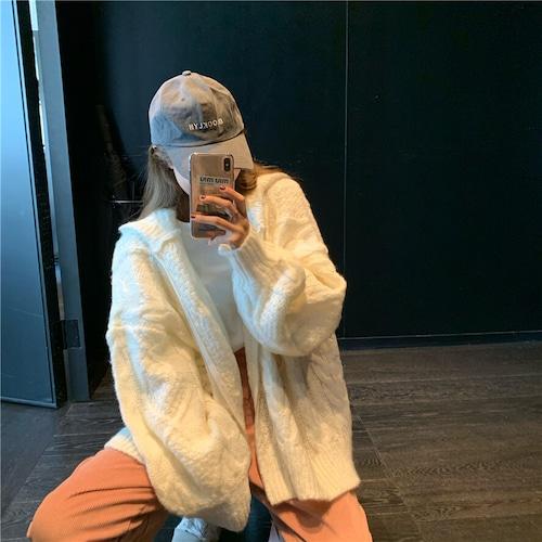 フード付き ニットカーディガン ホワイト 韓国ファッション レディース ケーブル編み ボリューム袖 厚手 オーバーサイズ DTC-608092239442