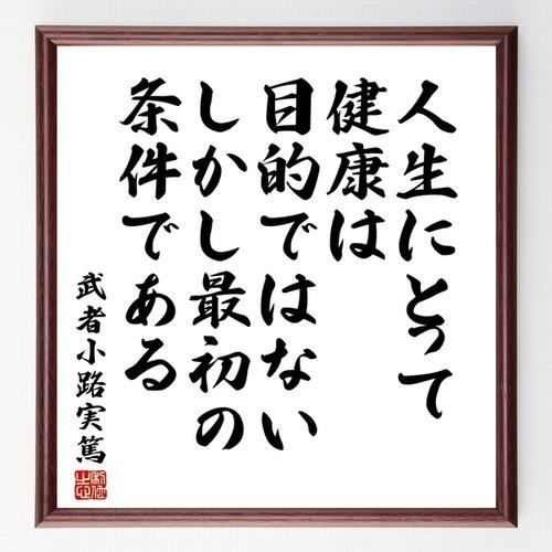 武者小路実篤の名言書道色紙『人生にとって健康は目的ではない、しかし、最初の条件である』額付き/受注後直筆(千言堂)Z0709