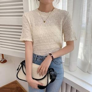 シワ加工フレンチデザインシャツ   半袖 韓国服 大人カジュアル 人気 夏
