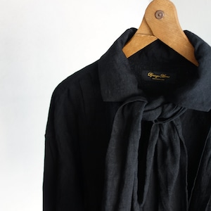 frenchvictorians jardinier linen shirt / antique black