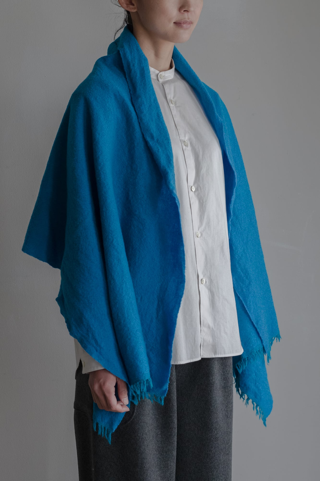 01603-3 chambray muffler / turquoise,lightblue