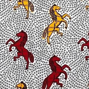 アフリカンファブリック(白地に黄色と赤い馬柄) 職人日傘・アフリカンプリント オーダー
