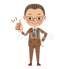イラスト素材:グッドサインをする中年のビジネスマン(ベクター・JPG)