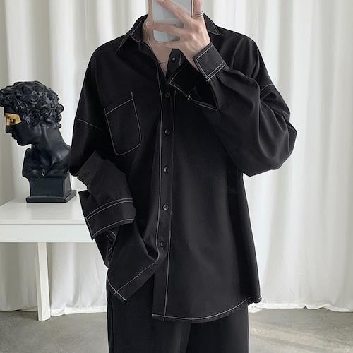 配色ステッチルーズシャツ BL5524