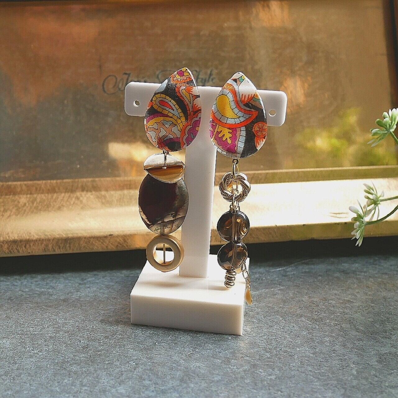 【一点もの】ガラスイヤリング リバティ&ストーン Earrings