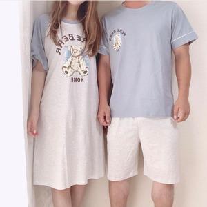 【コットン100%】【カップル】水色×くま柄ルームウェア