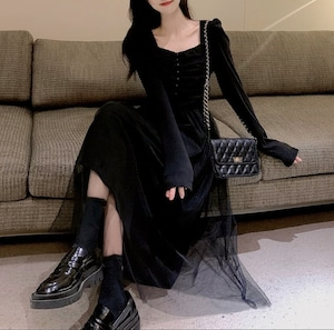 tulle long dress 3color