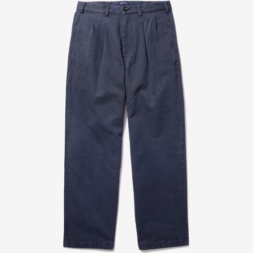 Double Pleat Herringbone Trouser(Navy)