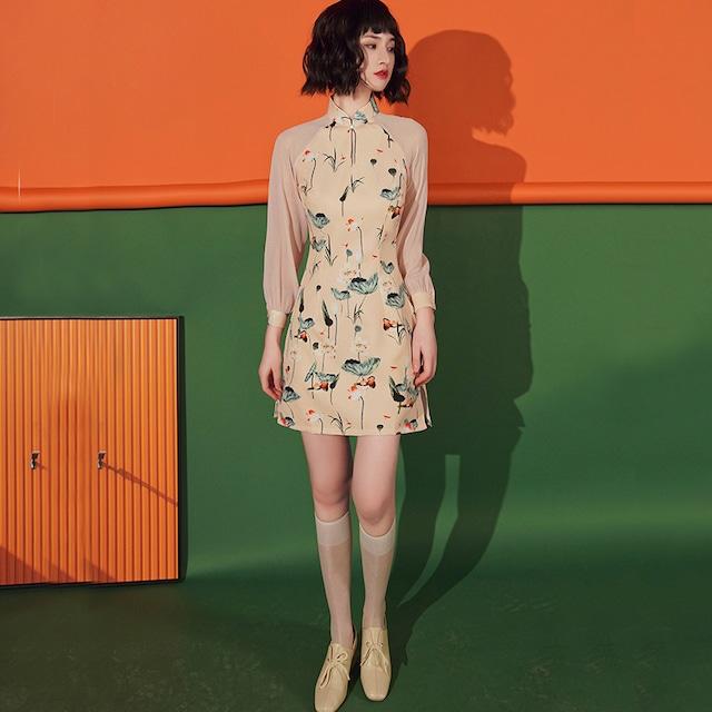 改良型チャイナドレス ワンピース 大きいサイズ S M L LL 3L 切り替え 可愛い 着痩せ
