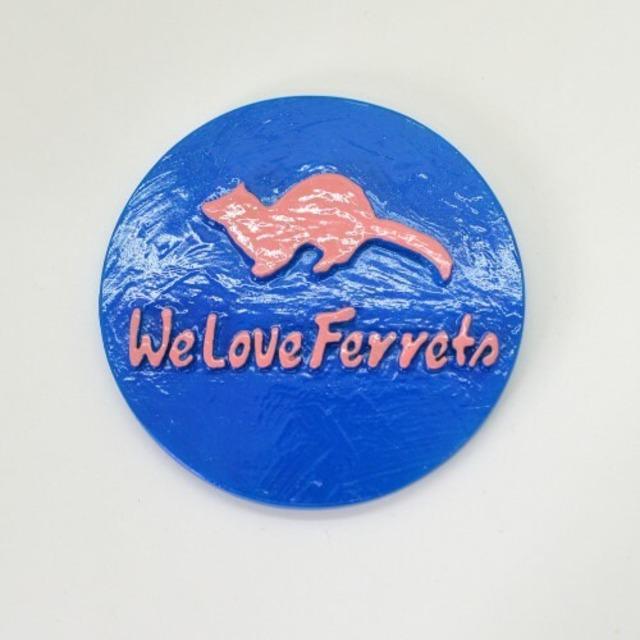 We Love Ferrets マグネットステッカー ⑬キャスト製(直径80mm)(ブルー・文字 ピンク)無料配送