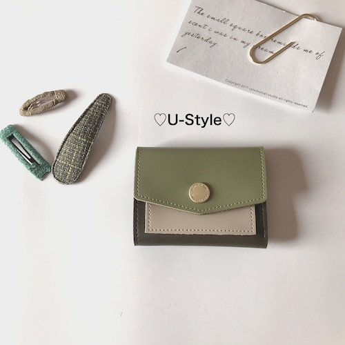 【即日発送】シンプル財布・グリーン