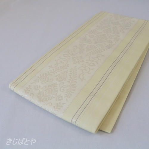 正絹博多半幅帯 淡黄蘗(うすきはだ)