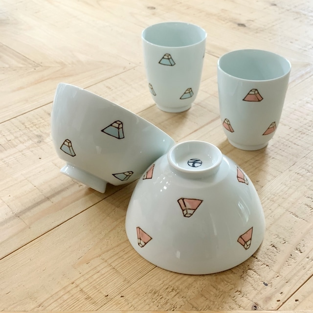 ブロック富士  ご飯茶碗  湯呑み
