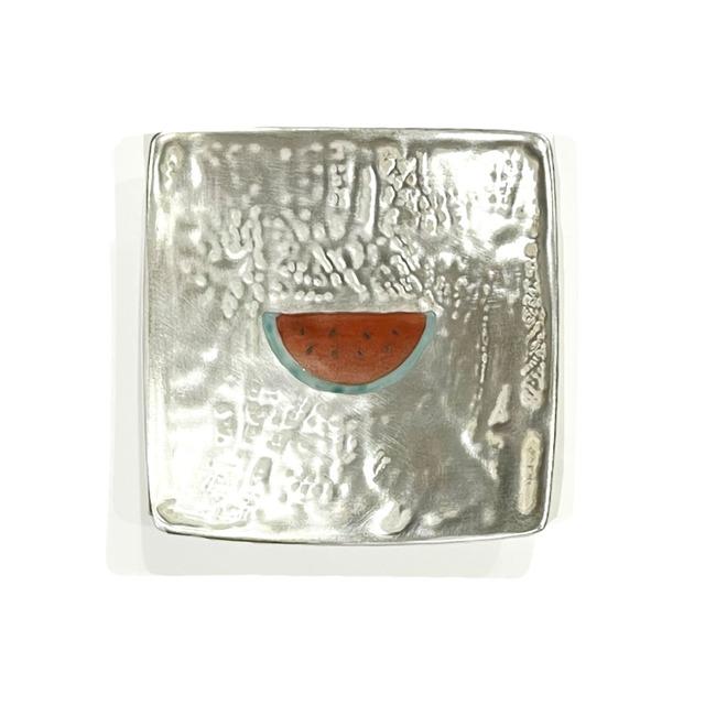 銀彩赤絵スイカ 角豆皿