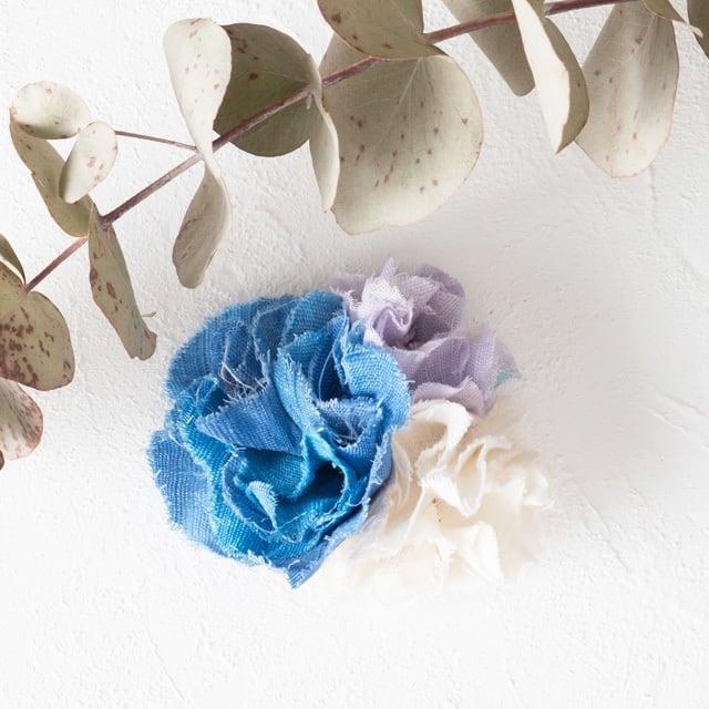 麻のコサージュ 〈 Bouquet 〉Blue