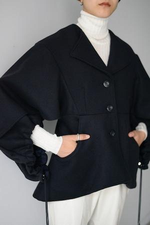 YOHEI OHNO / layered sleeve melton coat