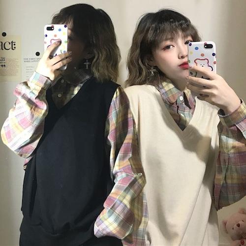 ベスト × チェック柄 フェイクレイヤード 韓国ファッション レディース 重ね着風 シャツ ガーリー カジュアル DTC-601095644955