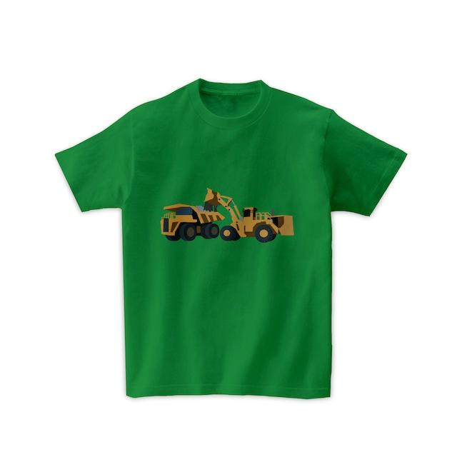 車Tシャツ-ホイールローダーとダンプカー