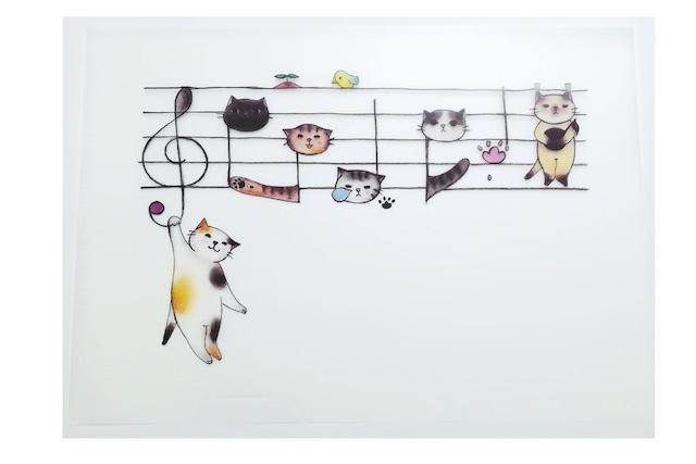 楽譜猫のクリアファイル(A5サイズ)
