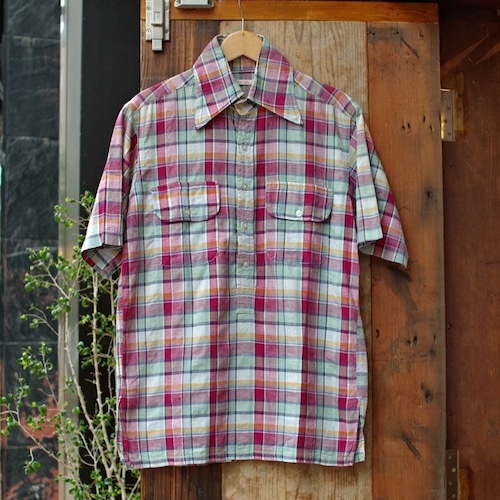 1970s India Cotton Madras Plaid Pull-over Shirt / マドラス チェック プルオーバー 半袖シャツ